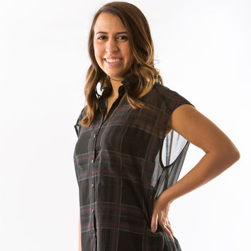 Mercy Sheer Button Down Top in Ebony Plaid by Black Swan