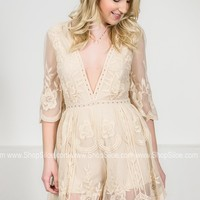 Floral Lace Romper | Ivory