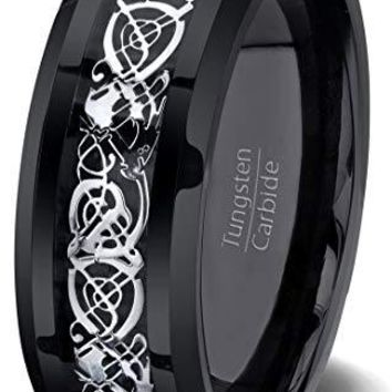 Black Tungsten Wedding Band For Men With High Polished Celtic Dragon Design and Beveled Edge - 8mm