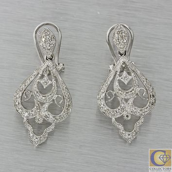 Vintage Estate 14k White Gold .25ctw Diamond Chandelier Drop Dangle Earrings J8