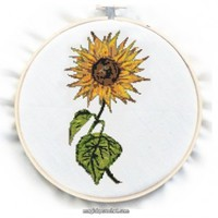 Retro SunFlower Cross Stitch Pattern, PDF counted chart, No.074