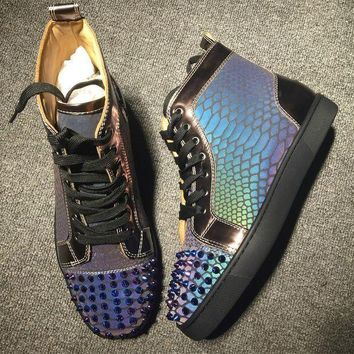 PEAPNW6 Cl Christian Louboutin Lou Spikes Style #2185 Sneakers Fashion Shoes