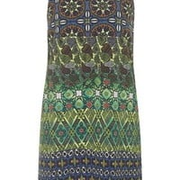 Tile Print Slip Dress - Navy Blue