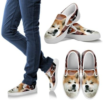Akita Dog Print Slip Ons For Women
