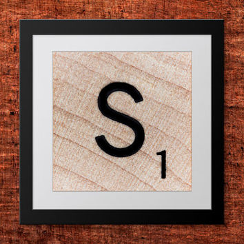 DIY Wall Art, Letter S-Personalized Word Art, Instant Download, Printable Letter, Scrabble Wall Art, Alphabet Art, Downloadable Image, Print