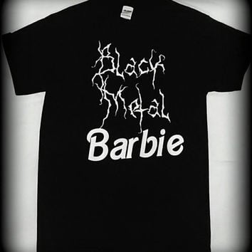 Black Metal Barbie t-shirt, womens black metal clothing, womens heavy metal tshirt, Size S