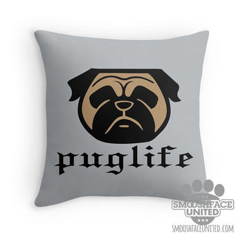 Pug pillow with Pug face silhouette & 'puglife' text - different size options - decorative pillow with dog