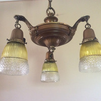 Antique 1920s Victorian Pan Light Chandelier 3 Cut Crystal Shades Vintage
