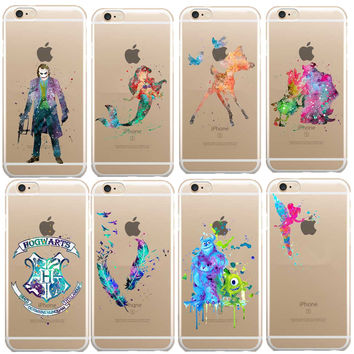 Kissing Mickey Mouse Soft Clear TPU Case for iPhone 7 7Plus 6s 6 5s 5C deer Ariel little Mermaid Harry Potter Watercolor Art