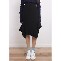 Asymmetric Rib Knit Skirt