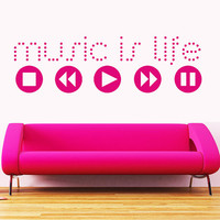 Wall Decal Vinyl Sticker Decals Art Decor Design Sign Music is Life Button Play Electro house Office Lounge Living room Bedroom Dorm(r746)