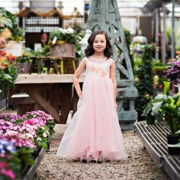 Azalea Light Pink Gown Dress - Toddler & Girls