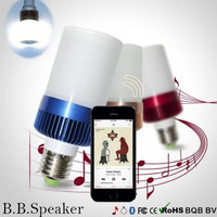 2015 New 2 in 1 LED Light Bulb Bluetooth 4.0 Speaker E27 warm white Base Music Lamp Player 400-460 LM For Bedroom and Cellphone