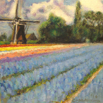 Holland Spring Flowers Windmill Landscape Triptych Panel 2 Of 3