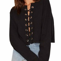 Selina Lace Up Knit Cropped Sweater