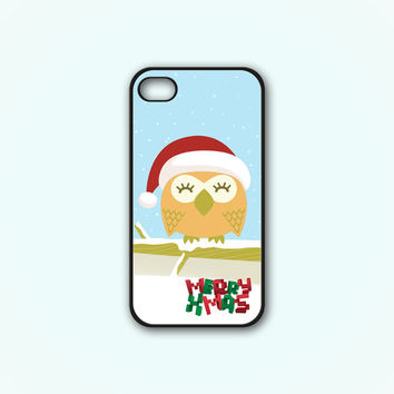 Christmas Owl Print On Rubber or Plastic - iPhone 4/4s, 5 - Samsung S3 i9300, S4 i9500 - iPod 4, 5
