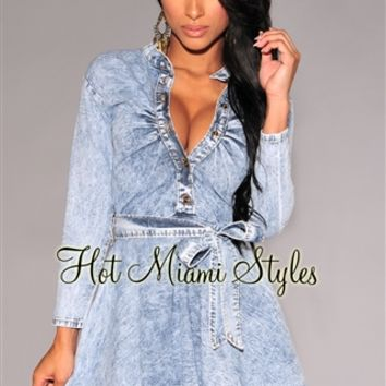 Light Denim Mock Neck Long Sleeves Belted Mini Dress/Tunic Top