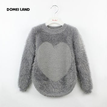 fashion 2016 new brand Knitting Mohai clothing for kids girls Pullovers candy color kids fuzzy mohai sweaters children's clothes