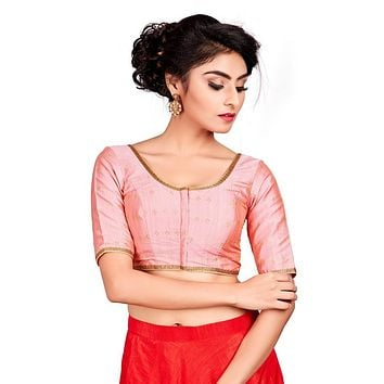 Designer Indian Light Pink Dupion Silk Padded Front Open Hooks Elbow Sleeves Saree Blouse (Co-722)