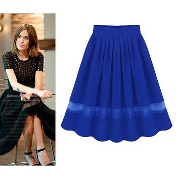XXL 4XL Plus Size Women Long Skirt 2017 Summer Vintage Solid Color Elastic High Waist Chiffon Pleated Tutu Skirts midi skirt