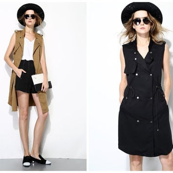 womens vest,vest dress in black,khaki,long length,double-breasted,minimalist style,fashion,for summer,spring.--E0205