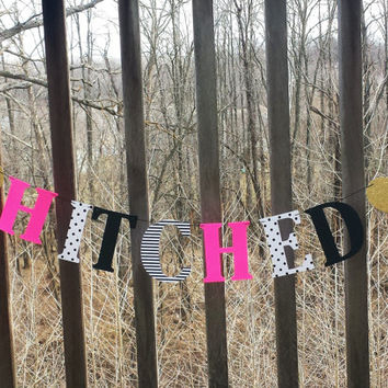 Bachelorette banner, Hitched Kate Spade inspired!,just married,bridal shower,kate bridal shower bachelorette,hearts