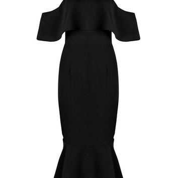 Honey Couture MYRA Black Off Shoulder Cut Out Midi Dress