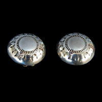 Sterling Silver Earrings Southwestern Dome Hand Stamped Clip On