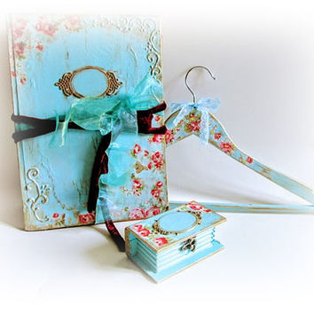 Wedding Set of Guest Book Wedding Ring Box and Dress Hanger Custom Guest Book Turquoise Bride Hanger Ring Holder Unique Bridal Shower Gift