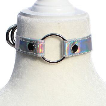 Ionic Holographic  O  Choker Necklace - Silver