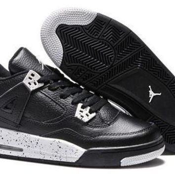 Cheap Air Jordans 4 Retro Men Dark Black White Shoes