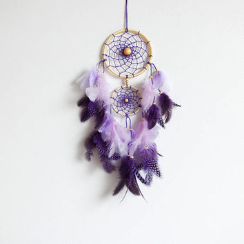 Dreamcatcher, Boho Dreamcatcher, Pastel Dream catcher, Purple Dreamcatcher Handmade, Boho Wall Hanging, Home Decor, Feathers , Gypsy, Pastel