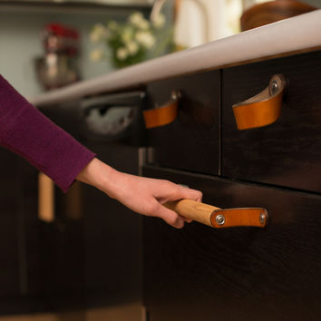 Leather Cabinet Pull - The Sellwood 12""