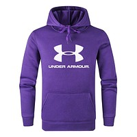 Under Armour Autumn And Winter Fashion New Letter Print Women Men Hooded Long Sleeve Top Sweater Purple