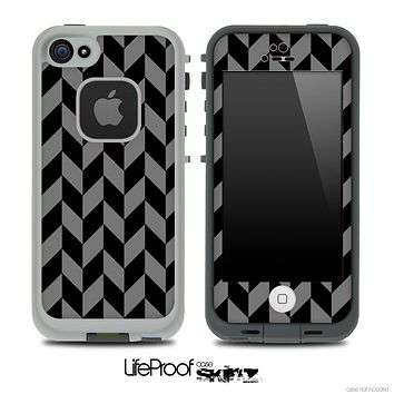 V5 Chevron Pattern Black and Gray Skin for the iPhone 5 or 4/4s LifeProof Case