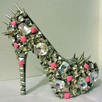 "Unique'z — Pink Studded Out Pumps w/ Spikes (CLUB ""B"")"