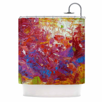 """Jeff Ferst """"Sonoran Fantasy"""" Red Abstract Shower Curtain"""
