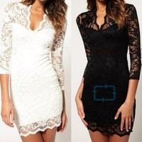 Women Lace Sexy Slim V-Ncek 3/4 Sleeve Cocktail Dress Black White