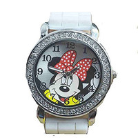 "Mickey Mouse 's "" Minnie"" on a Silver and Crystal Round Womens or Girls White..."