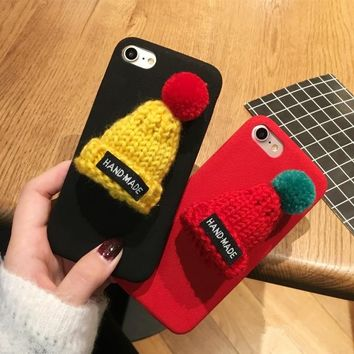 Christmas Santa Claus Case for iPhone X Warm Fur Ball Case Plush 3D Hat Phone Case for iPhone 6 6S 7 8 Plus Luxury Back Cover