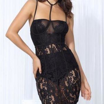 Ready To Party Sheer Lace Sleeveless Spaghetti Strap Bustier Choker Neck Bodycon Midi Dress - 3 Colors Available