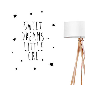 Sweet Dreams Little One Wall Decal, Typography Wall Sticker, Kids Sticker, Typography Decal, Nursery Decal, Office Decor, Bedroom Wall Decal