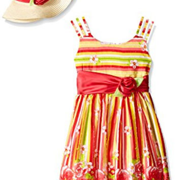 Bonnie Jean Big Girls Floral and Stripe Print Dress with Hat, Coral, 7