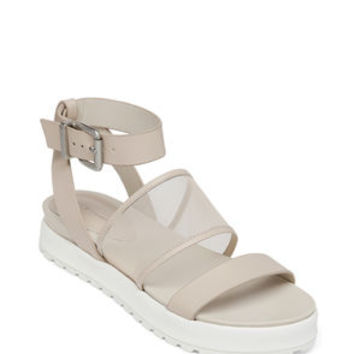 Ellis Flat Ankle Wrap Sandal in White - BCBGeneration
