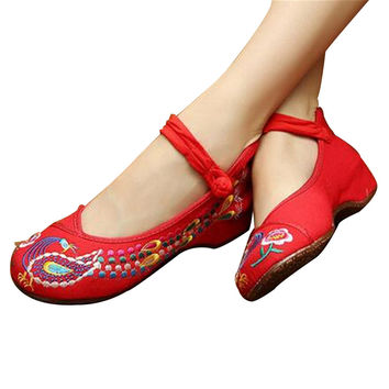 Vintage Embroidered Flat Ballet Ballerina Cotton Chinese Mary Jane Shoes for Women in Dazzling Red Floral Design