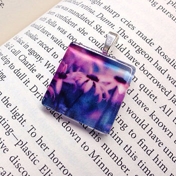 Through Kenya's Eyes - Glass Tile Necklace, Pink flowers, Butterfly Cones, Cone Flowers, Pink Flowers, Nature,  -Recycled Pendant Necklace
