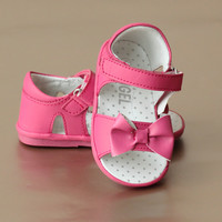 Angel Baby Girls Pretty Bow Leather Open Toe Sandal