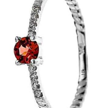 CERTIFIED 0.08 ctw 10k White Gold Dainty Solitaire Garnet & Diamond Rope Design Ring