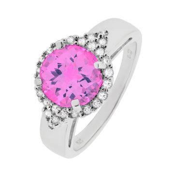 8mm Round Pink Sapphire and White Topaz Halo Sterling Silver Ring Size 7