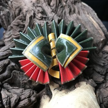 Vintage Artisan Crafted Fan Brooch & Pin
